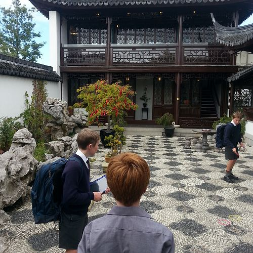 Year 9 Drama class exploring the Dunedin Chinese Garden