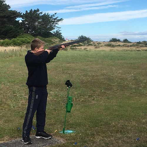 William Shallard takes aim at a clay bird