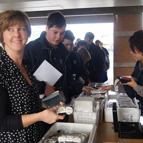 Dr Fiona Thomas who left King's this week, grabs some sushi for lunch