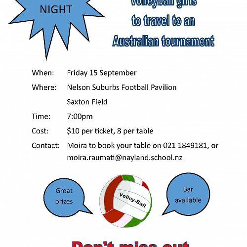 Nayland College Senior 'A' Volleyball girls Quiz Night