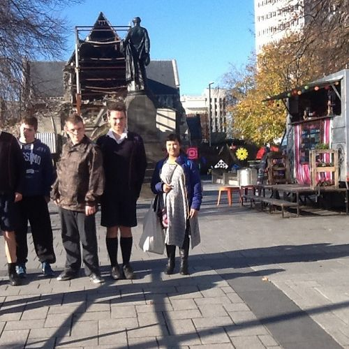 Alex, Ben, Jason L, Tyrone and Micayla visit Cathedral Square.