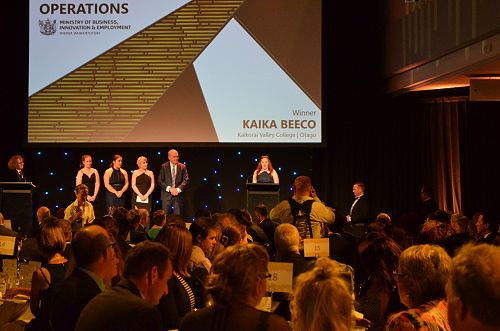 Kaika BeeCo winning the MBIE Excellence Award for