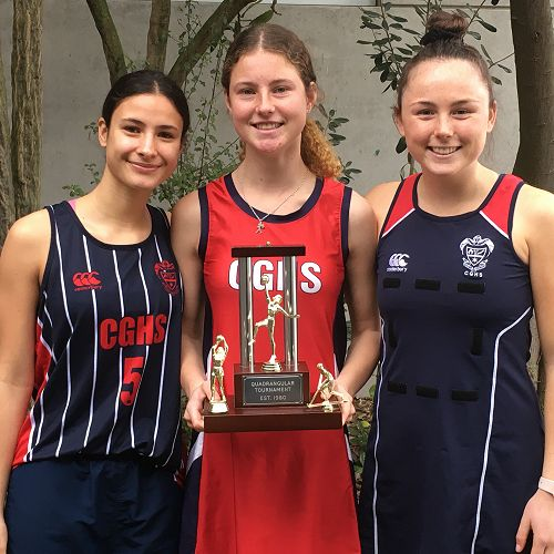 The Quadrangular Tournament trophy with the CGHS captains of each sport played at the event