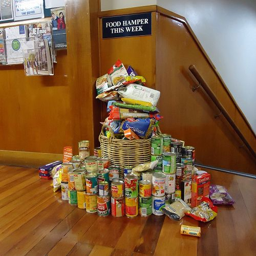 The great pile of food gathered by Year 8 to donate to the Foodbank.