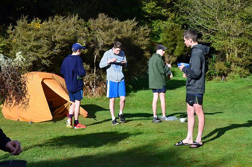 Year 11 group enjoy breakfast on day 2