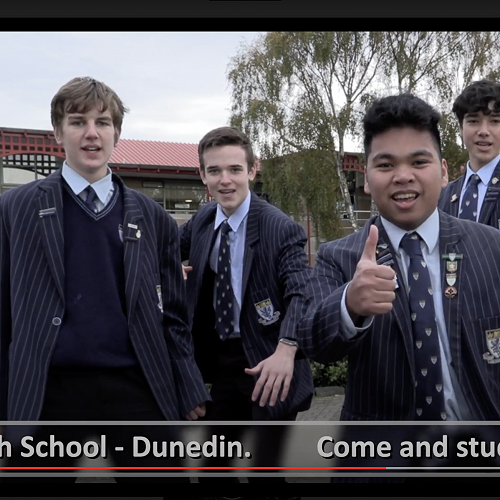 A screenshot from the video. From left;Frederic Allan and Henry Cameron (Year 12),Christian Macalisang Yr 13,Luke Salisbury Yr 11