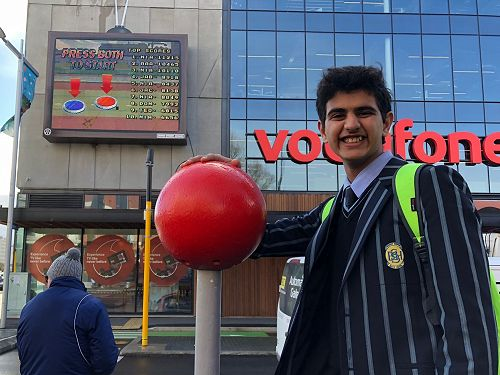 Kishan Patel gets ready to play the Gap Fillers life sized Super St Arcade Game