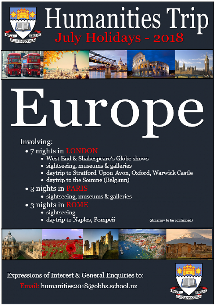 2018 Humanities Trip to Europe - Newsletter - No 22 - 2016