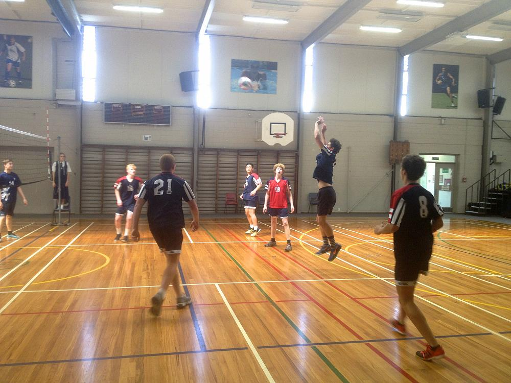 Semisi Maiai, Captain of the winning STAC Volleyball team in action.