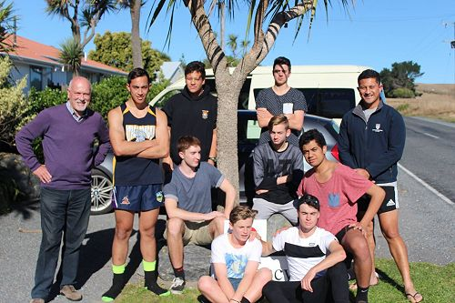 Volleyball team at Kaikoura on way to Nationals