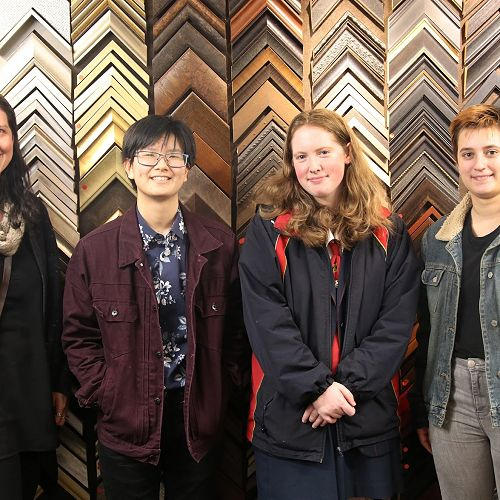 From left to right, HOD of Visual Art Amie Blackwell, and Level 3 Visual Art students Austin Lam, Victoria Wareing and Lillian Renwick.