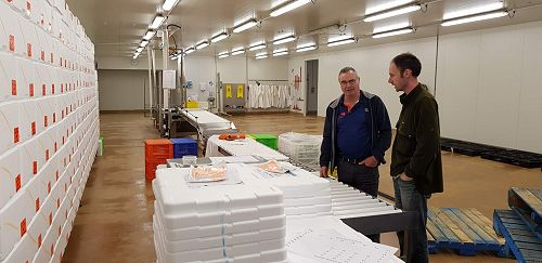 Adam Rusk, Auckland Factory Manager, nearest, with Grant Walker, New Zealand Operations Manager, reviewing processes.