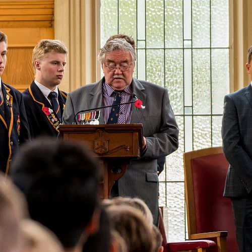 ANZAC 2017; Mr John Anderson reads from the roll of honour.