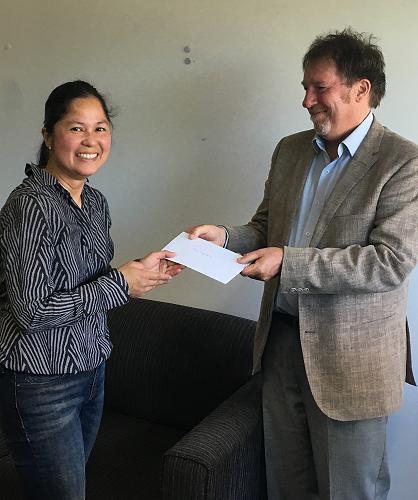 Felicia Sacramento, SHIFT learner, receives the 'S