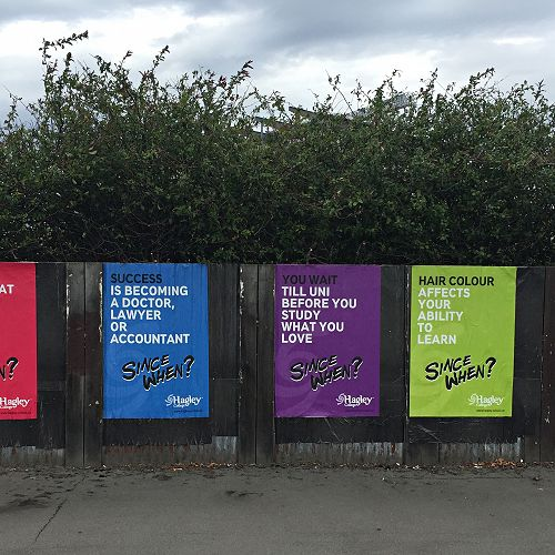 Hagley College : Since When Campaign on the streets and buses of Christchurch